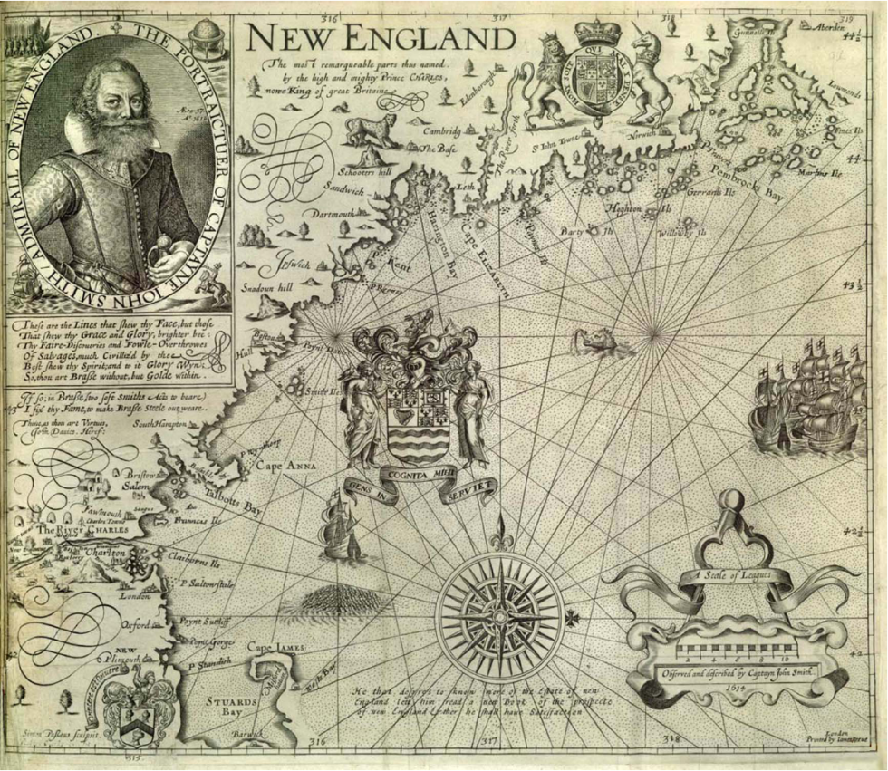 "Carte maritime dessinée par John Smith, 1616, montrant le Cape Code (en bas, la ""queue de scorpion "")"