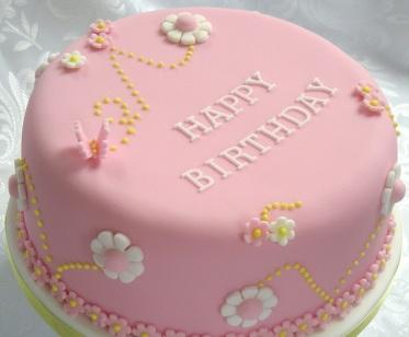 bday cake pink
